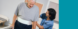 Physical therapist helps a patient with rehabilitation treatments