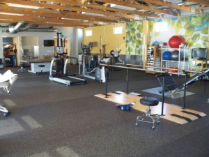 Rehabilitation gym room with modern equipment
