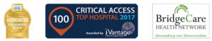 Prowers Medical Center logos for being a Top 100 Critical Access Hospital in 2017, a member of the BridgeCare Health Network, and an Accredited Critical Access Hospital